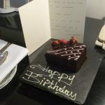 Birthday cake with handwritten note
