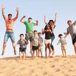 A break in between our Dune bashing. All these kiddies in the picture went on this! We thought t