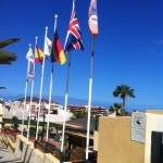Outside view with flags
