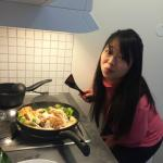Cooking in the kitchenette!