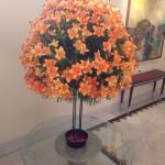 Flower arrangement outside the main dining area