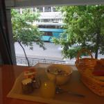 Breakfast and the view from inside on the 1st floor