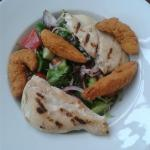 Chicken Strips salad, with additional chicken breast added. Strips are spicy but not many of the