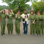 With the Hotel Staff at Ichinoseki City, Iwate Prefecture, Japan. Photo taken: May 2012.