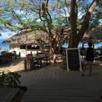 This view is looking through the beach bar and lunch place, to the jetty and the sea.