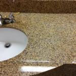 Yellow stained bathroom counters