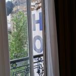 Room with hotel sign