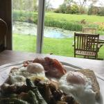 We self catered in the coach house, but Linda and Hugh gave us free range eggs, asparagus from t
