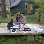 our own barbeque party, next to our tend, behind is that famous house in the website, trust me i