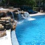 The waterfall in the pool