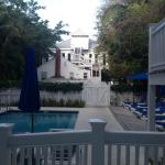 This was the view of the pool area and front guest building from our room