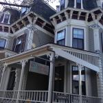 Front/Entrance of 21 Broad.  So pretty, looks like a doll house! Front porch has rocking chairs!