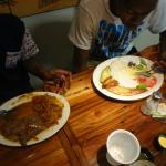 Steak and fish for the guys