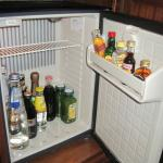Stocked mini bar/frig.