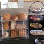 """Pictures of breakfast buffet.  They call it """"continental"""", but they have hard boiled eggs, chees"""