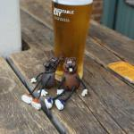 Swampy and Beefy having a beer in the patio area
