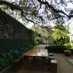 side courtyard is more quiet in evening