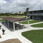 Very nice organization BBQ area with lot's of picnic tables