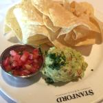Guacamole appetizer with salsa and chips