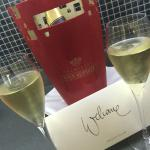 Welcome card and champagne