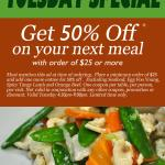 Tuesday Speical Offer 50% Off
