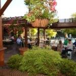 Merrick Inn outdoor patio is one of the prettiest in Lexington - fans to keep you cool and heate