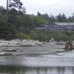 View of lodge from beach below restaurant.