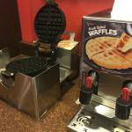 Make-them-yourself waffles are a standard in many hotels.