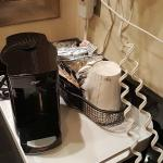 Coffee machine in the bathroom.