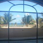 View of beach from hotel lobby