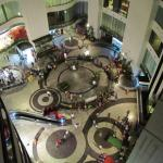 Shopping area located under hotel
