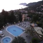 View from top floor apartment over pool and Agios Gordios