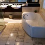 Gorgeous bathroom has big soaker tub