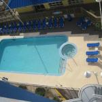 The pool area looking down from our balcony