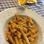 Breakfast, Slovenian traditional meat & sausage dish, pasta with seafood and fried cheese appeti