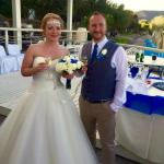 Our wedding day at the Domes of Elounda pier