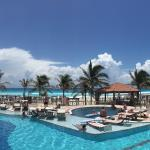View across pool to Caribbean