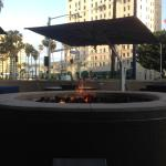 outdoor fire pit next to the bar