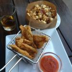 Bacon caramel popcorn and fried chicken skin!