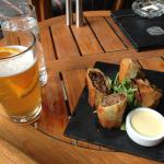 Buffalo Cheesesteak Spring Rolls at the Ascent Lounge - really tasty!