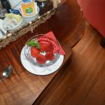 Fresh strawberries in our room after a day at La Paz Waterfall Gardens.