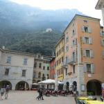 Hotel Portici (on right) overlooks the square