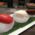 Sorbets minut...home-made sorbet in 3 flavours served on ice