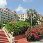 Hotel front view, behind camera, ocean front