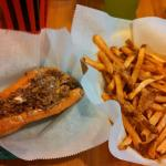 A six inch cheesesteak and small fries.