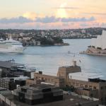 View from our room  (11th floor) of the Opera House and a cruise ship leaving,