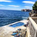 Outdoor pool deck and view towards Dubrovnik Old City