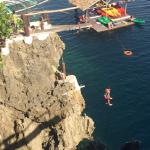 Cliff diving at Ariels Point