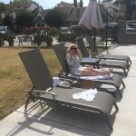 My Sister, doing business by the pool!