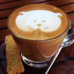 Nice latte art by hotel's cafe barista